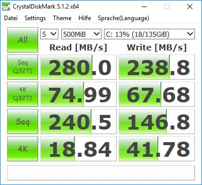 CrystalDiskMark DELL Latitude D830 mit SSD
