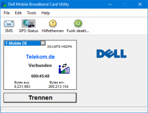 DELL Mobile Broadband Card Utility Status